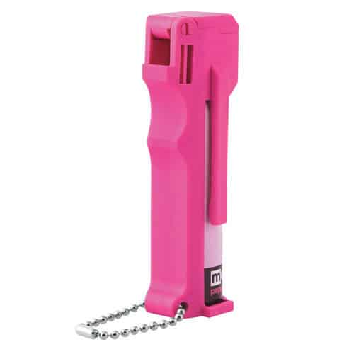 Mace Hot Pink personal model key chain 10% Pepper Spray front view.
