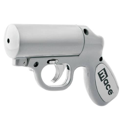 Silver Mace Pepper Spray Gun left side angle view