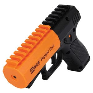 Orange Mace Brand Pepper Spray Gun 2.0 front top view