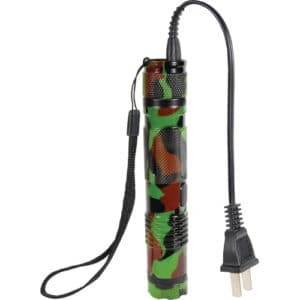Camouflage BashLite flashlight 15 million volt stun gun standing view with charger cord