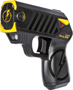 Taser pistol close up front view