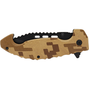 desert camo folding knife side view