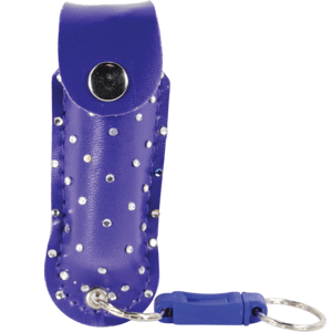 Blue leatherette pepper spray front view